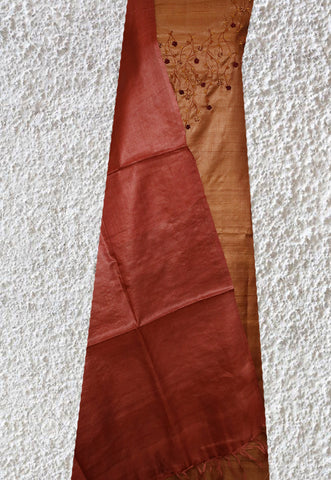 Brown with Maroon Tussar Silk Embroidered Top with Dupatta