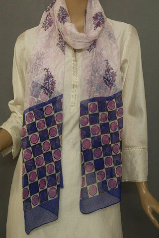 Pink with Blue Floral Block Printed Kota Stole