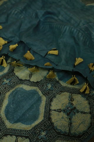 Subdued Blue with Light Yellow Mulberry Silk Ajrak Stole