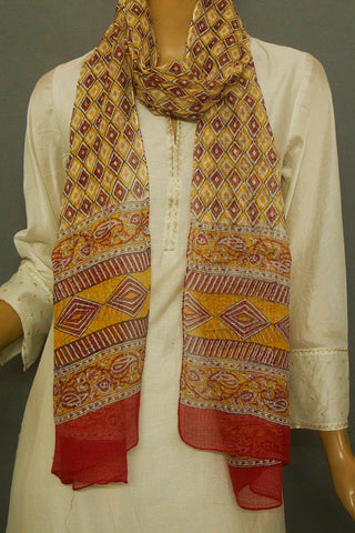 Yellow with Red Checks Block Printed Kota Stole