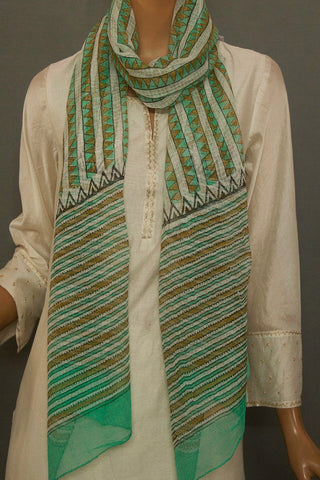 Off White with Green Block Printed Kota Stole