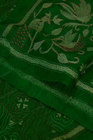 Moss Green With Peacock Design Embroidered Tussar Silk Stole