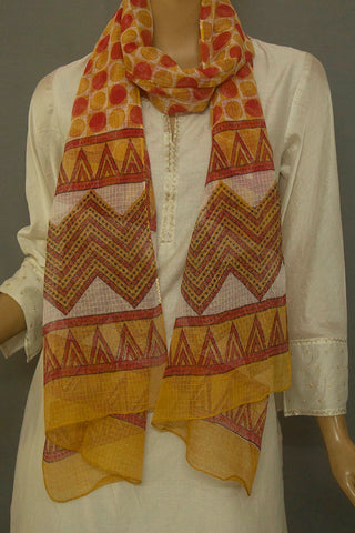 Red Yellow Colour Circles Block Printed Kota Stole
