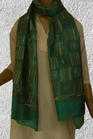 Green Kantha Embroidered Tussar Silk Stole