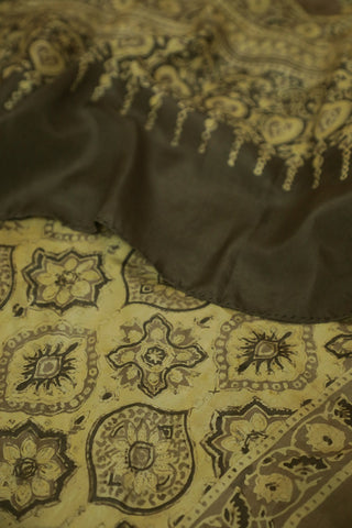 Pale Yellow with Intricate Design Mulberry Silk Ajrak Stole