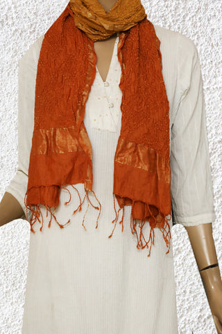 Brown with Yellow With Tie & Die Bandhani Stole