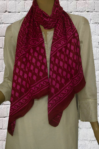 Dark Purple Zig Zag Block Printed Gajji Silk Stole