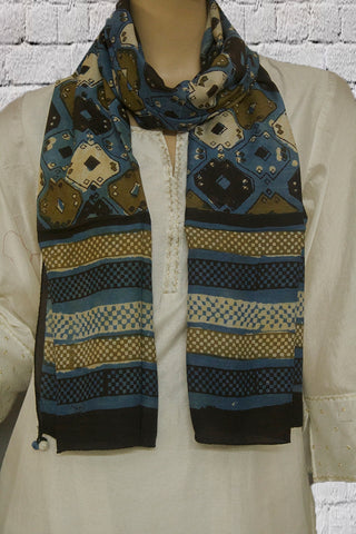 Subdued Blue with Brown and Black Block Printed Mulberry Silk Stole