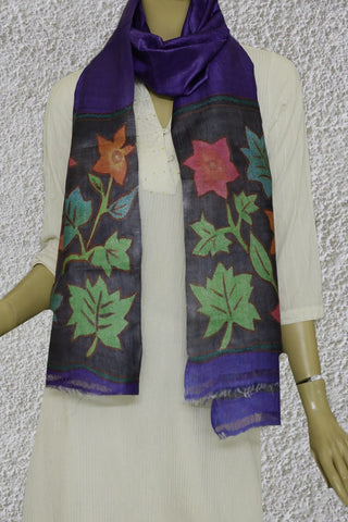 Hand Painted Kantha Embroidered Tussar Silk Stole