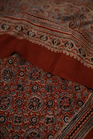 Maroon with Black Mulberry Silk Ajrak Stole