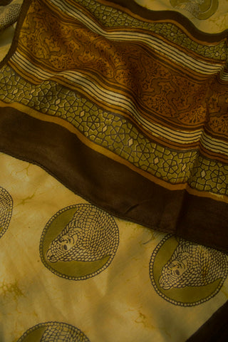 Light Beige with Brown Block Printed Gajji Silk Stole