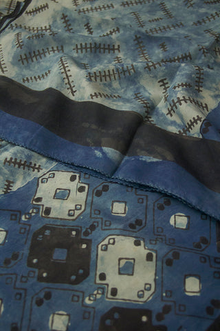 Faded Indigo Blue with Black Block Printed Mulberry Silk Stole