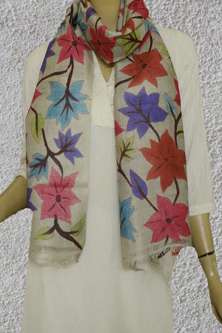 Multi Colour Floral Kantha Embroidered Tussar Silk Stole