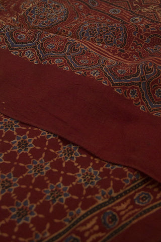 Maroon with Indigo Stars Cotton Stole