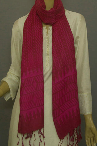 Purplish Brown Block Printed Tussar Silk Stole