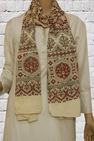 Beige with Black Floral Block Printed Ajrak Cotton Stole