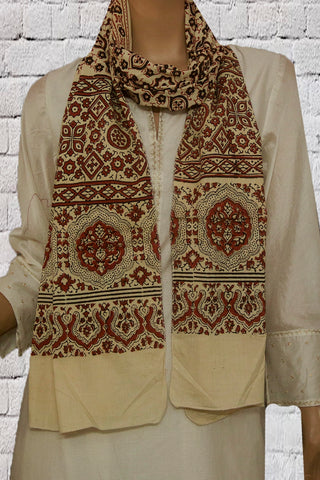 Beige with Black Block Printed Ajrak Cotton Stole