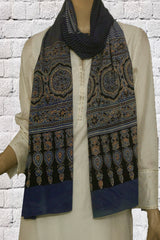 Black and Off White Lines Block Printed Ajrak Cotton Stole