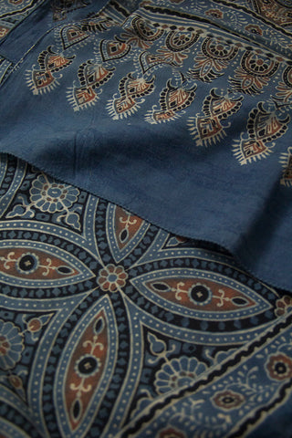 Faded Indigo Big Circles Block Printed Ajrak Cotton Stole