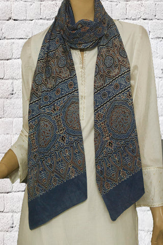 Black with Brown Circles and Stars Block Printed Ajrak Cotton Stole