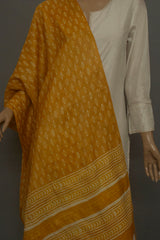 Yellow Block Printed Tussar Silk Stole