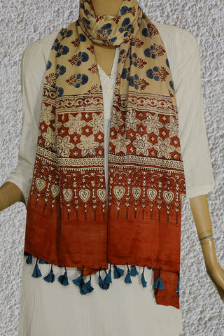 Light Beige with Indigo Gajji Silk Ajrak Stole