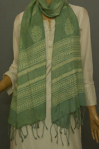 Pickle Green Block Printed Tussar Silk Stole