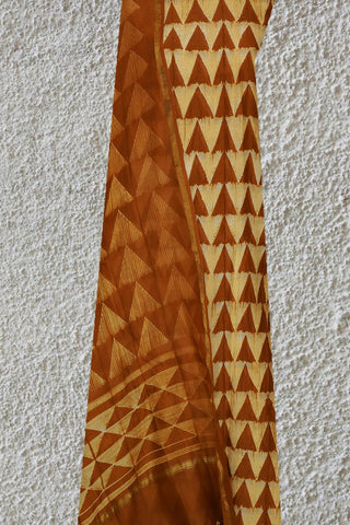 Yellowish Brown Triangles Silk Cotton Chanderi Shibori Top and Dupatta