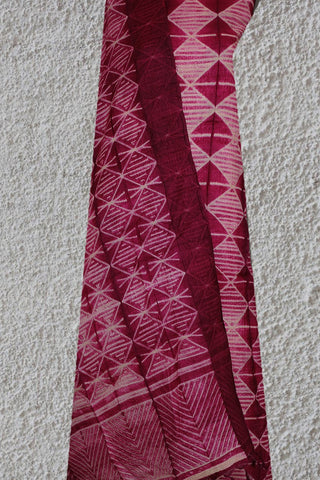 Off White Lines in Dark Pink Tussar silk Shibori Top and Dupatta