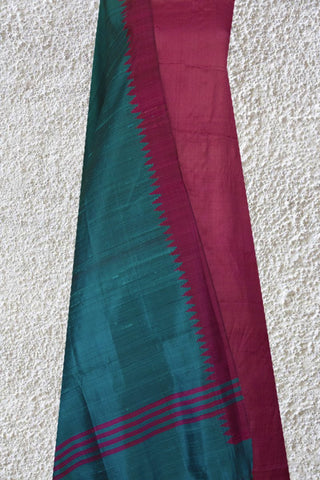 Pink Tussar Silk Fabric with Blue and Light Pink Temple Border Silk Dupatta