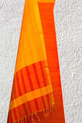 Orange with Yellow Handwoven Mangalagiri Cotton Suit