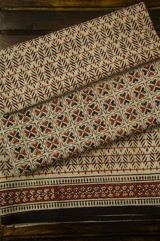 Beige with Black with Brown Square Heart Bagru Cotton Full Suit
