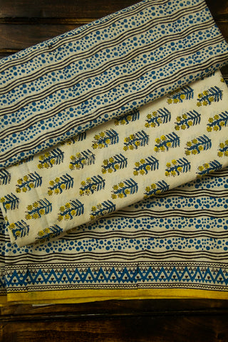 Blue with Black Block Printed Bagru Cotton Full Suit