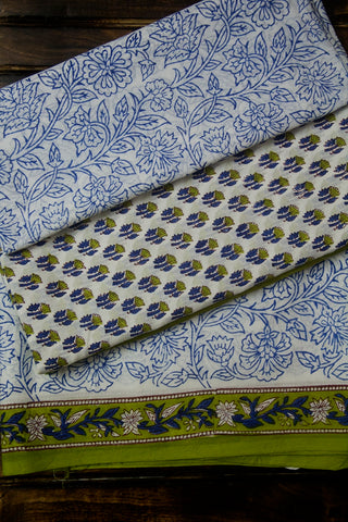 Light Green with Blue Floral Block Printed Bagru Cotton Full Suit