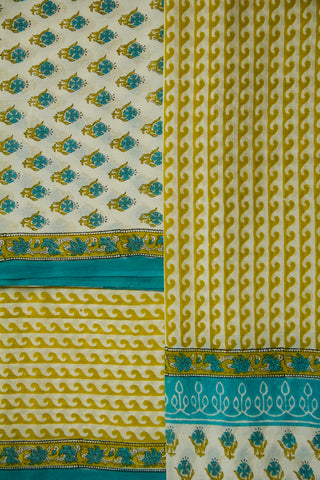 White with Blue and Yellow Sanganeri Cotton Full Suit