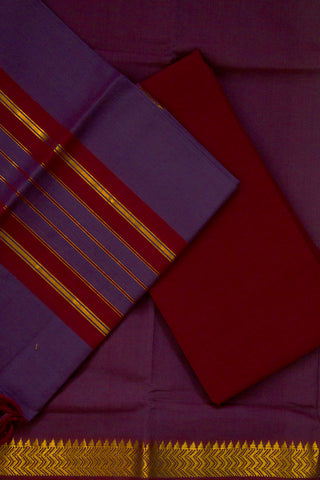Maroon with Purple Handwoven Mangalagiri Cotton Suit