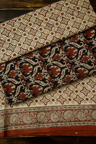 Black with Brown Floral Bagru Block Printed Cotton Full Suit