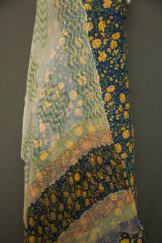 Blue with Yellow and Orange Floral Sanganeri Cotton With Chiffon Dupatta