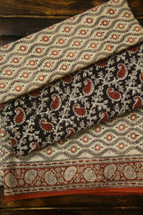 Black with Brown Paisley Bagru Block Printed Cotton Full Suit