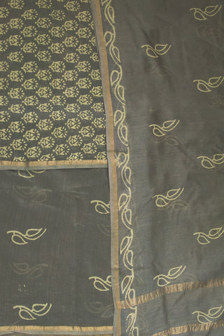 Grey Block Printed Silk Cotton Chanderi Suit