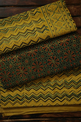 Green with Maroon Floral Block Printed Ajrak Full Suit