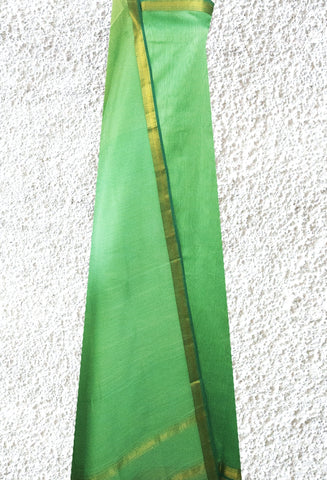Light Green Handwoven Maheshwari Silk Cotton Suit