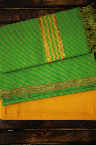 Light Green with Yellow Pin Stripes Mangalagiri Full Suit