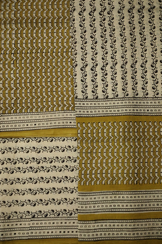 Beige with Fenugreek Yellow Block printed mul Cotton Suit