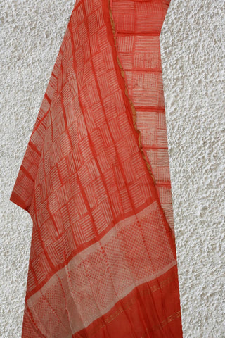 Peach with White Lines Shibori Tie & Dye Top and Dupatta