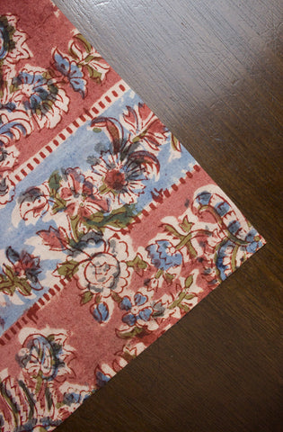 Peach with Blue Colour Bands - Block Printed Kalamkari Fabric