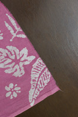 Leaves in Pink - Natural Dyed Organic Cotton Batik Fabric