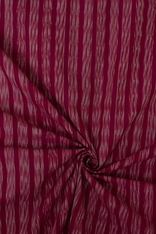 Pinkish Red with white stripes handwoven Ikat Fabric