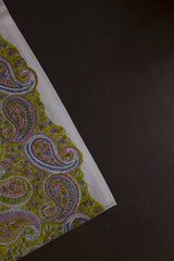 Light Green with Multi Colour Paisley Sanganeri Hand Block Printed Fabric