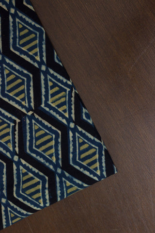 Black with Blue Diamond Block Printed Ajrak fabric